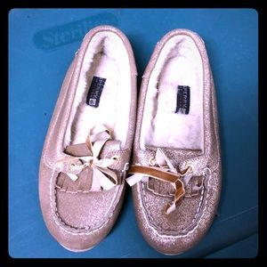 Gold Sperry Loafers
